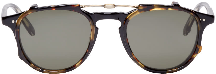 Garrett Leight Black and Tortoise Hampton Clip-on Glasses