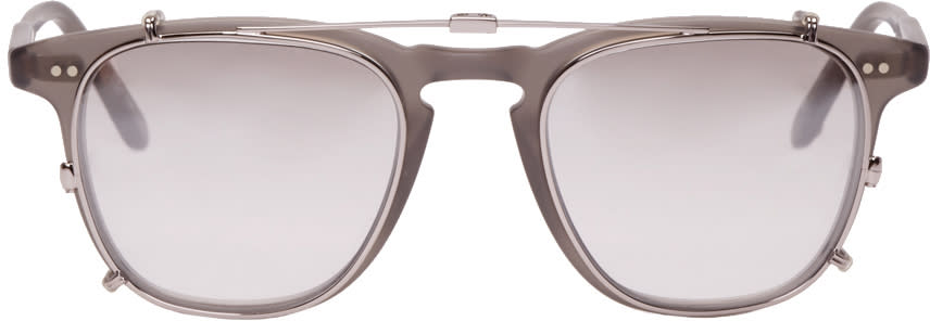 Garrett Leight Grey Clip-on Brooks Glasses