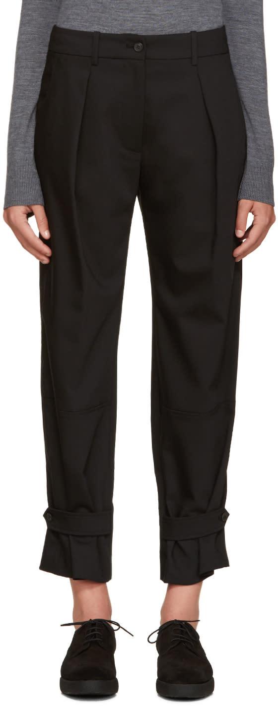 Jil Sander Navy Black Wide-leg Pleated Trousers