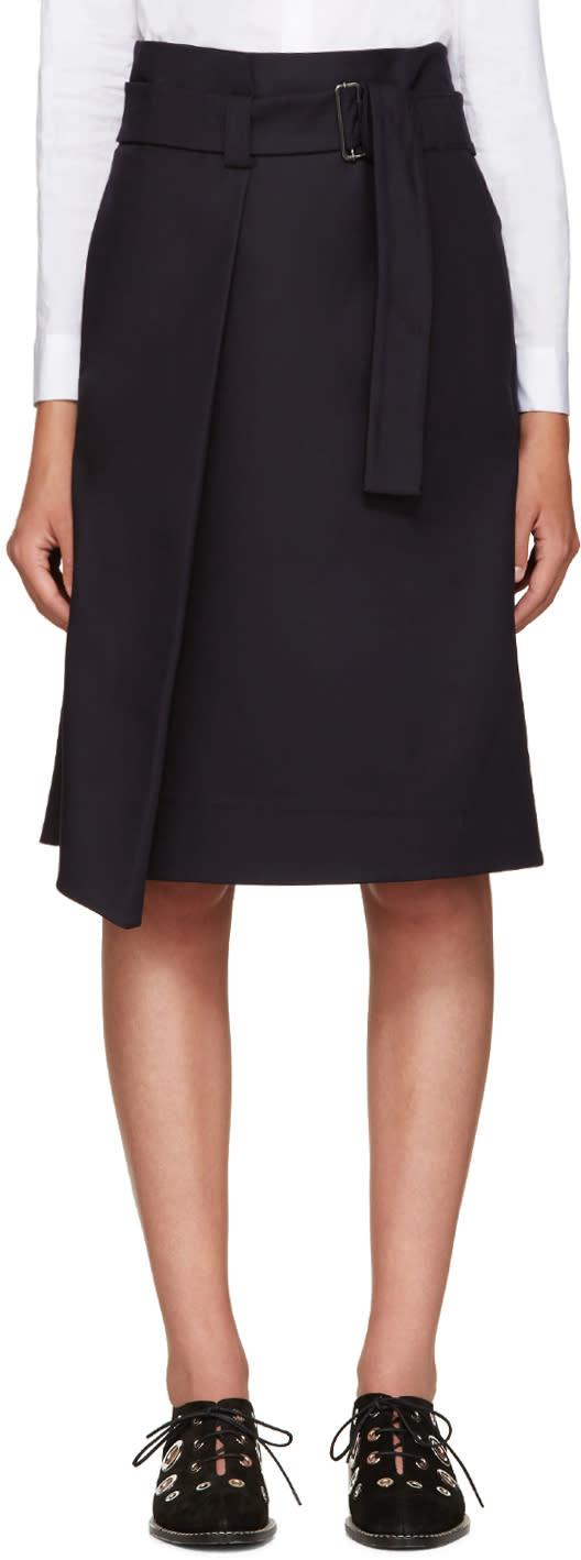 Jil Sander Navy Navy Cotton Belted Skirt