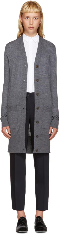 Jil Sander Navy Grey Wool Long Cardigan