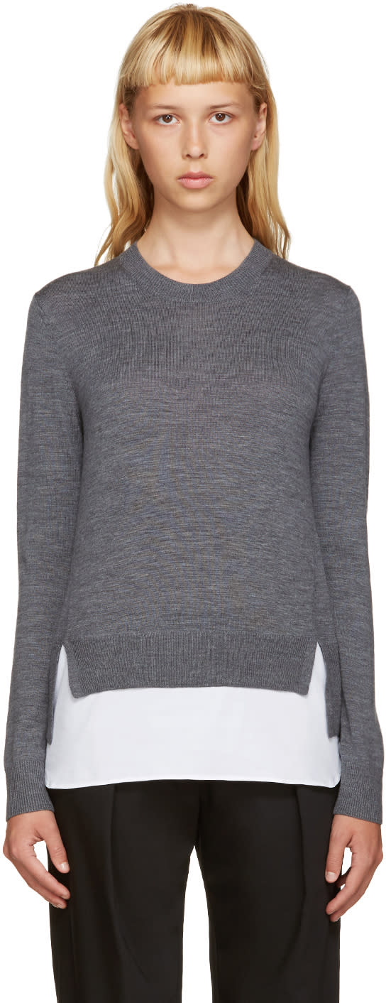Jil Sander Navy Grey Shirt Hem Sweater