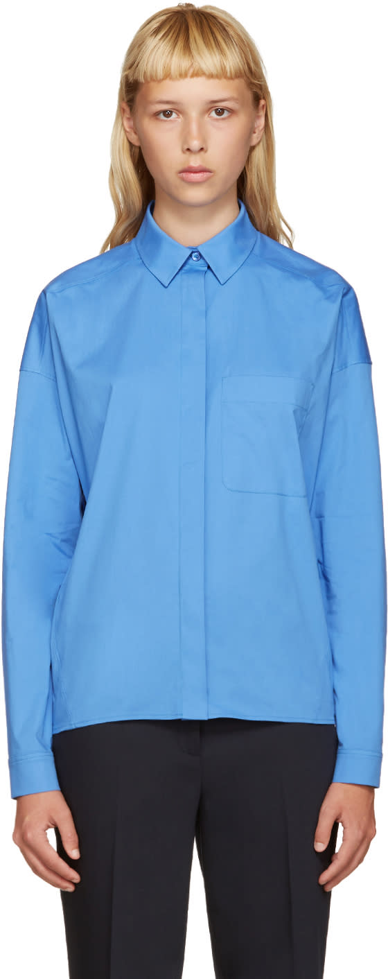 Jil Sander Navy Blue Poplin Shirt