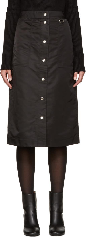 Nomia Black Nylon Button Skirt