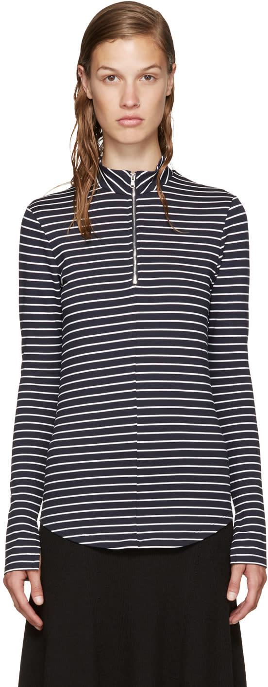 Nomia Navy Zip Mock Neck T-shirt