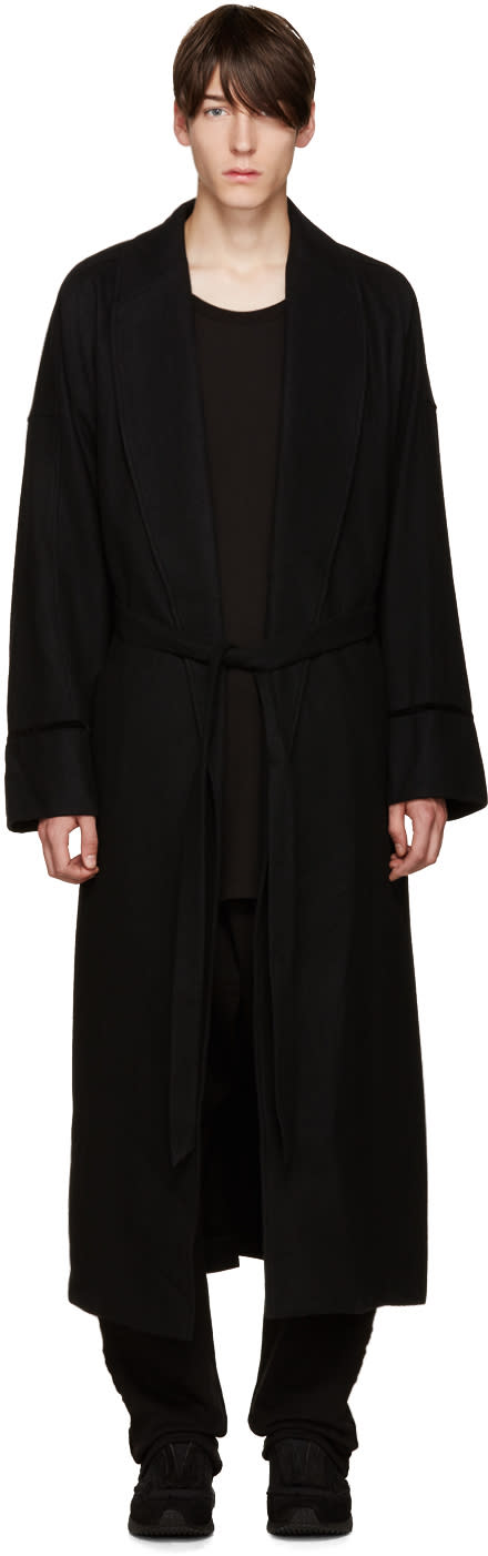 D By D Black Wool Robe Coat