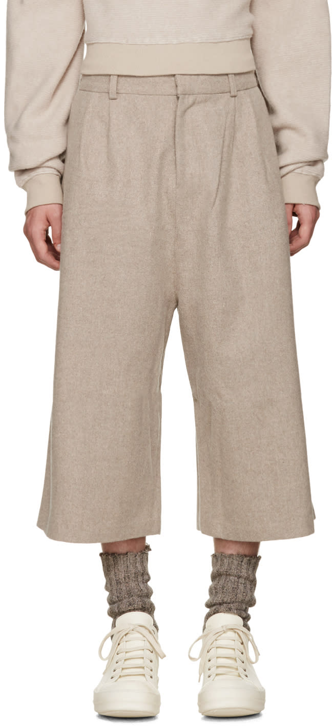 D By D Beige Wide-leg Wool Trousers