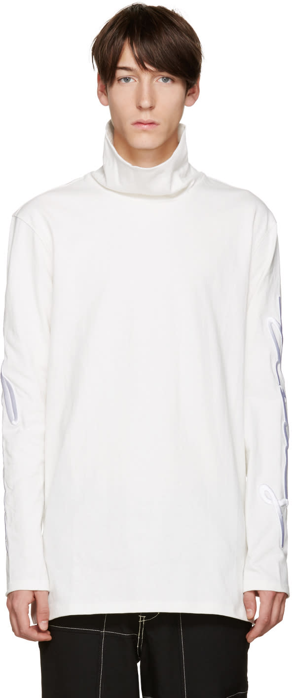D By D White Embroidered Turtleneck