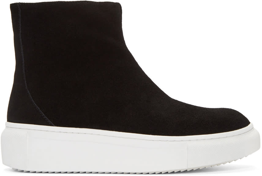 D By D Black Suede High-top Sneakers
