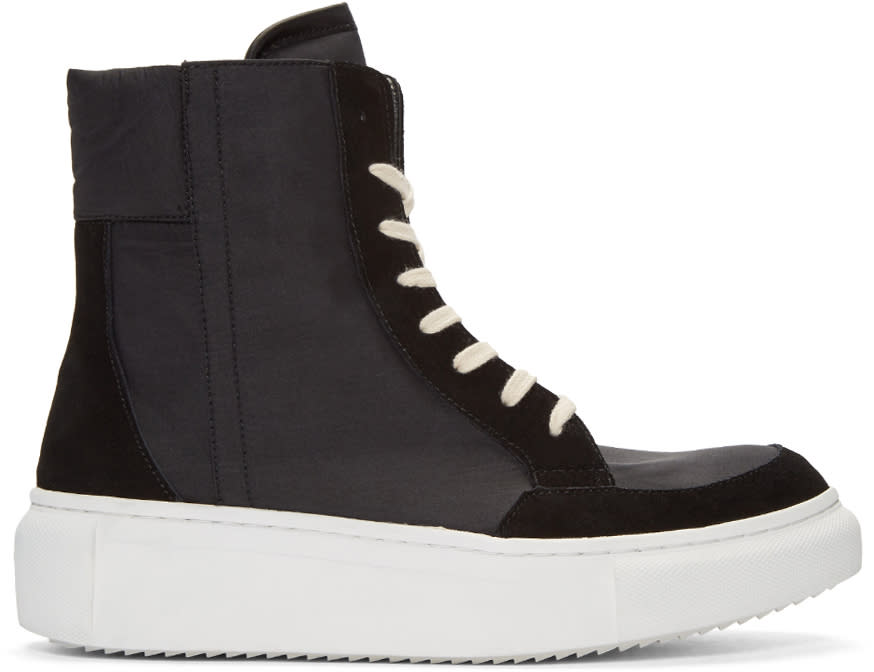 D By D Black Nylon High-top Sneakers