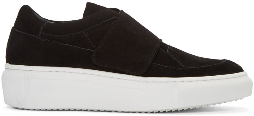 D By D Black Suede Velcro Sneakers