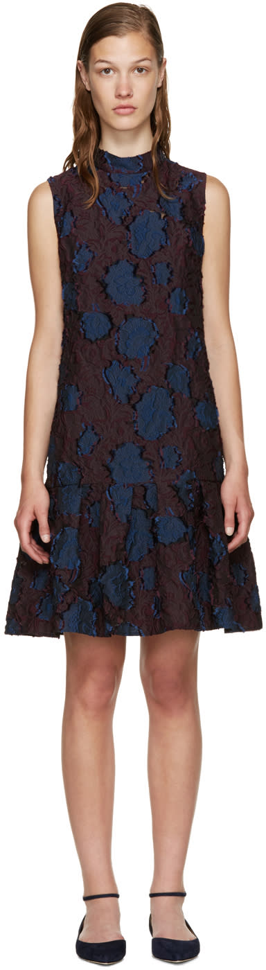 Erdem Burgundy and Navy Nena Dress