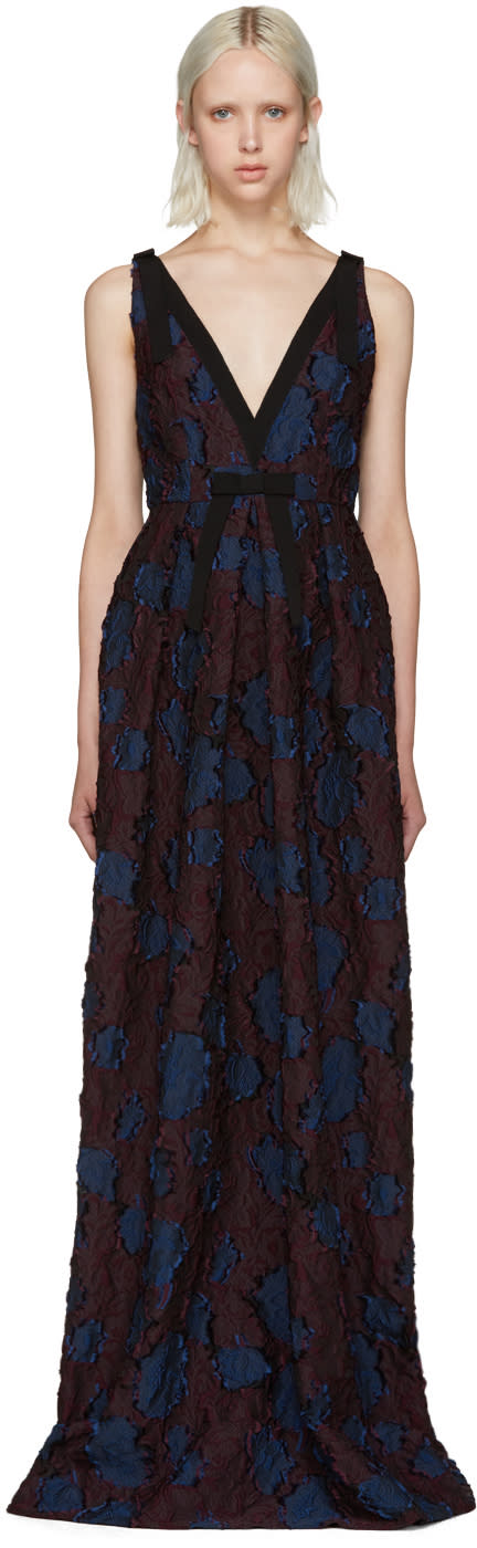 Erdem Burgundy and Navy Ceren Dress
