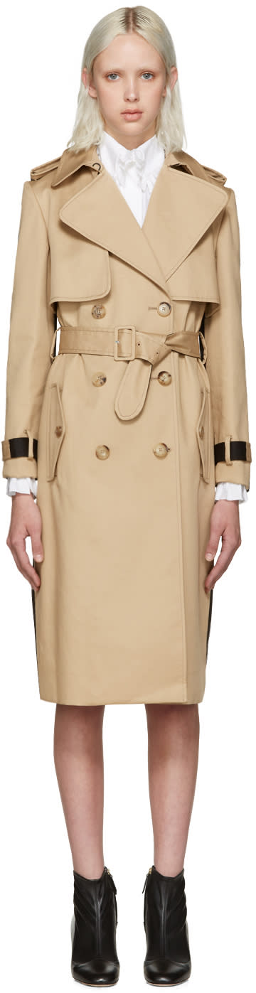Erdem Beige and Black Meira Trench Coat
