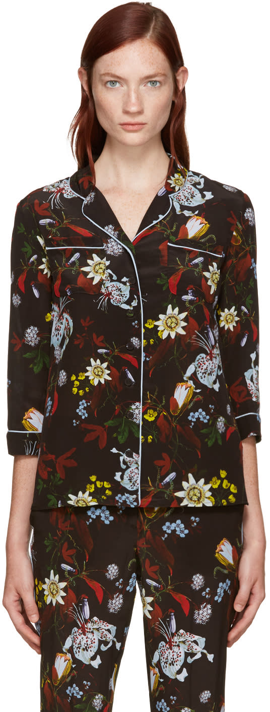 Erdem Black Silk Ray Shirt