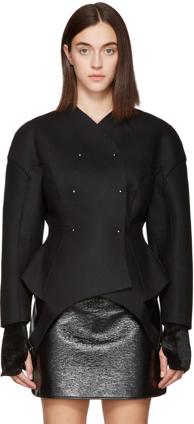 Image of Esteban Cortazar Black Wool Round Jacket