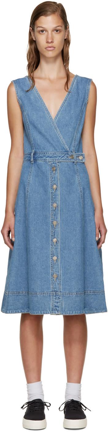 Sjyp Blue Denim Buttoned Dress