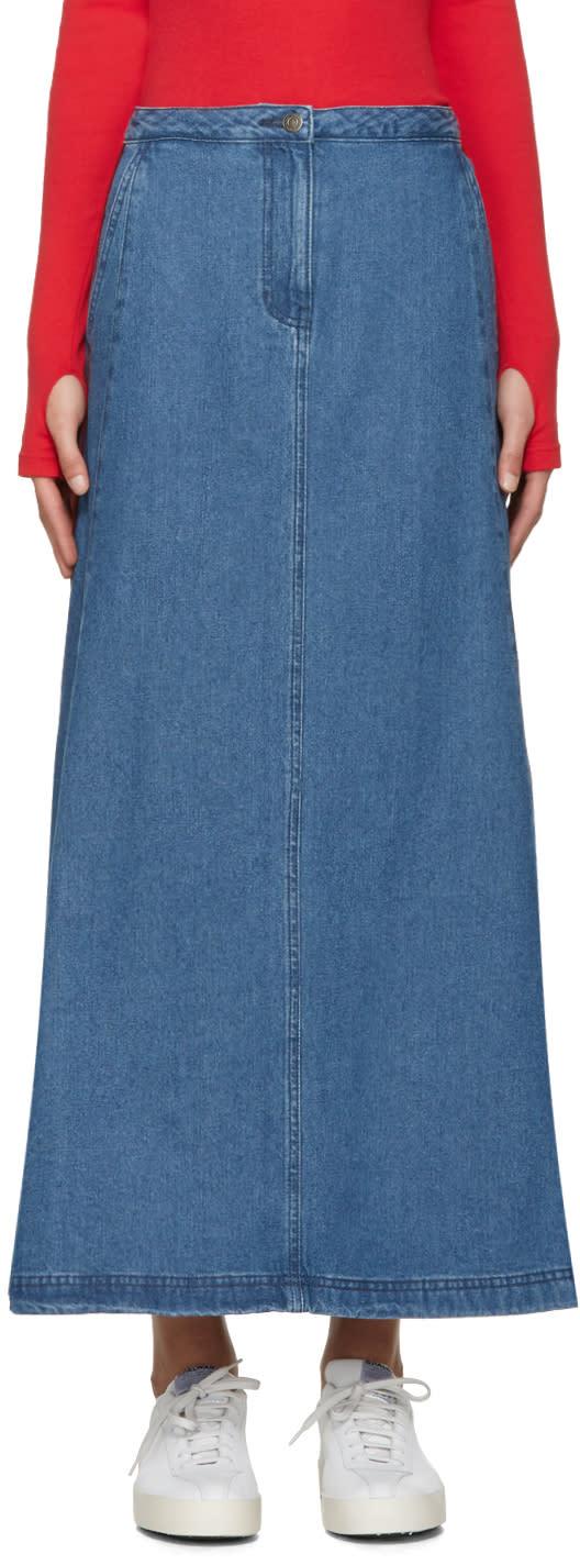 Image of Sjyp Blue Denim Flared Skirt