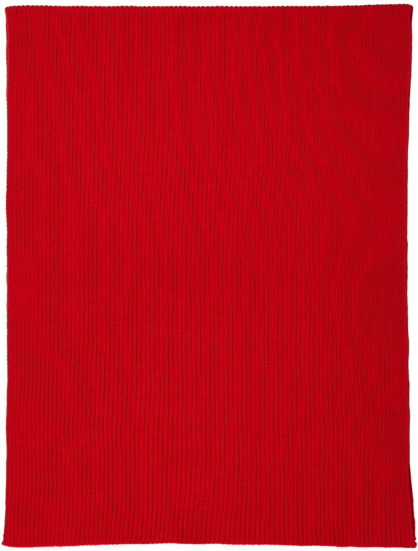 Lemaire Red Wool Scarf
