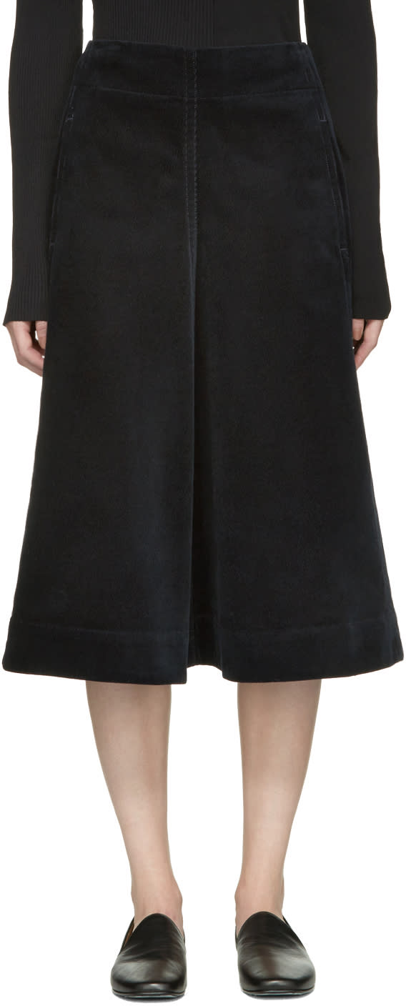 Lemaire Navy Flared Corduroy Skirt