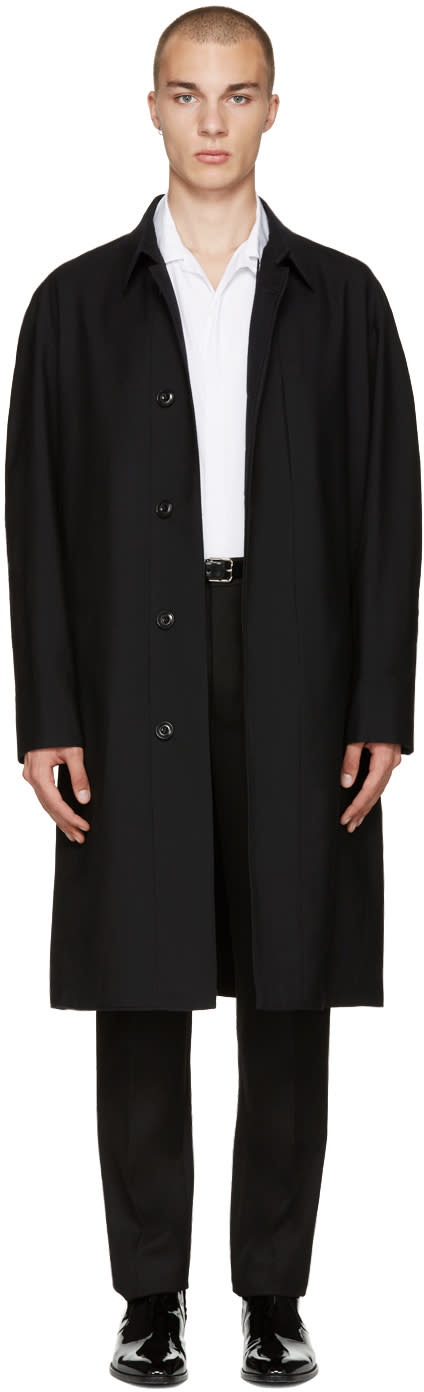 Lemaire Black Wool Overcoat
