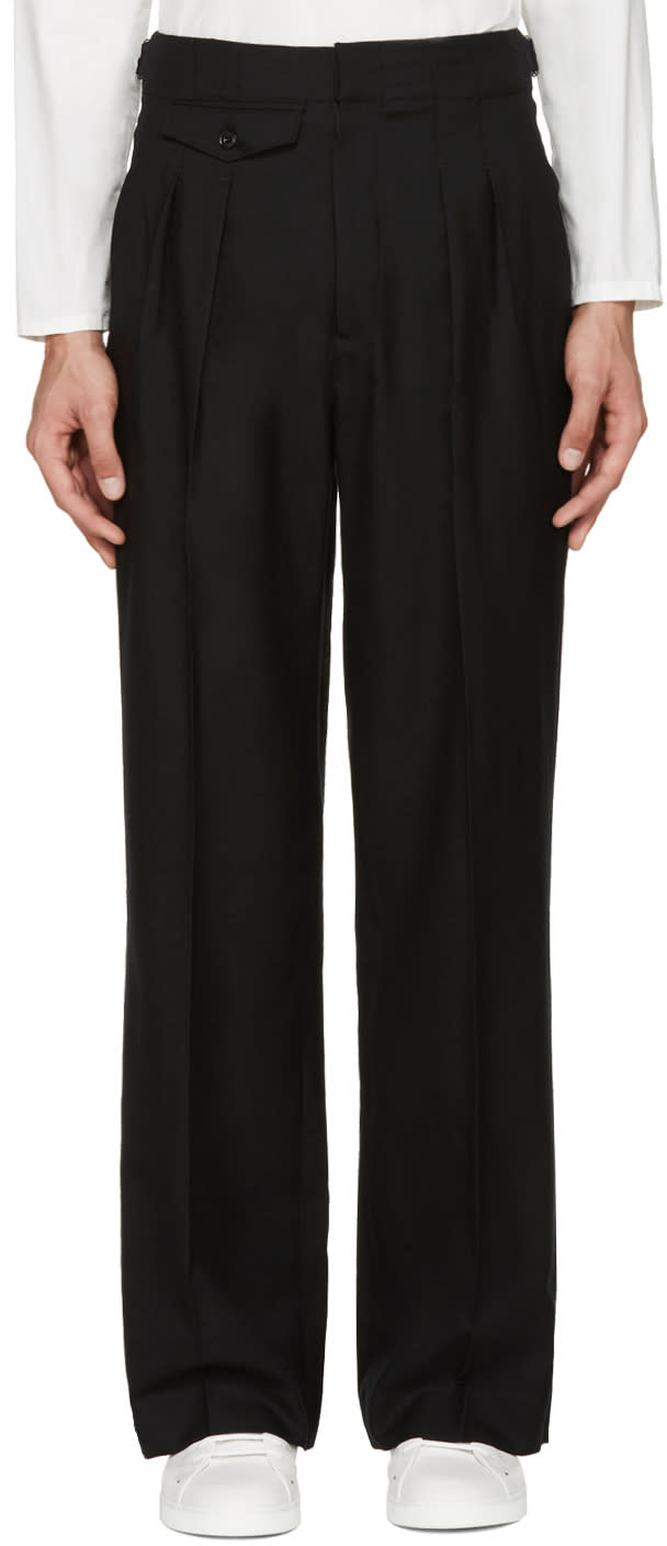 Lemaire Black Two-pleat Wide-leg Trousers
