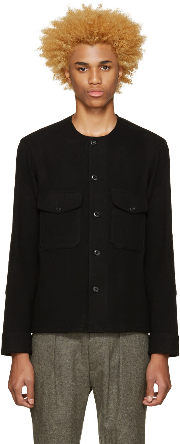 Lemaire Black Collarless Wool Shirt