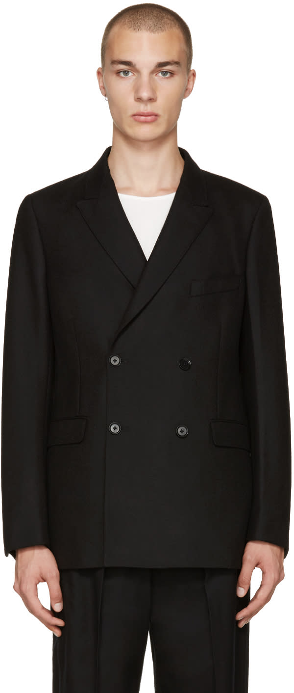 Lemaire Black Double-breasted Blazer