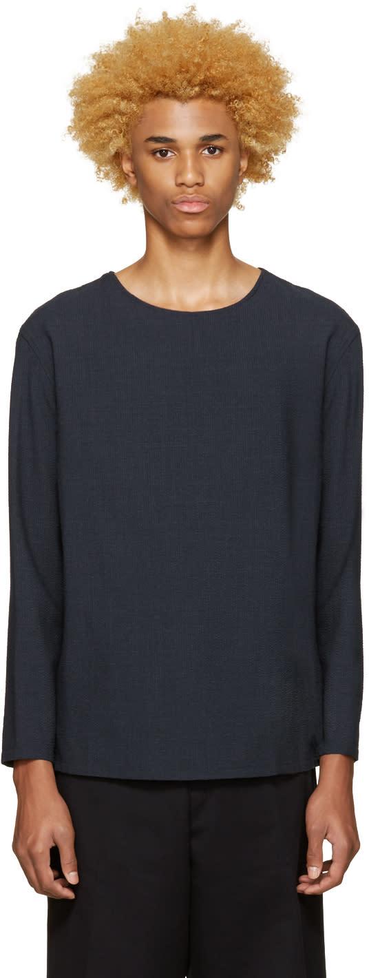 Lemaire Blue Wool Seersucker Pullover