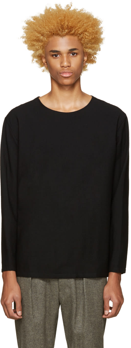 Lemaire Black Wool Seersucker Pullover
