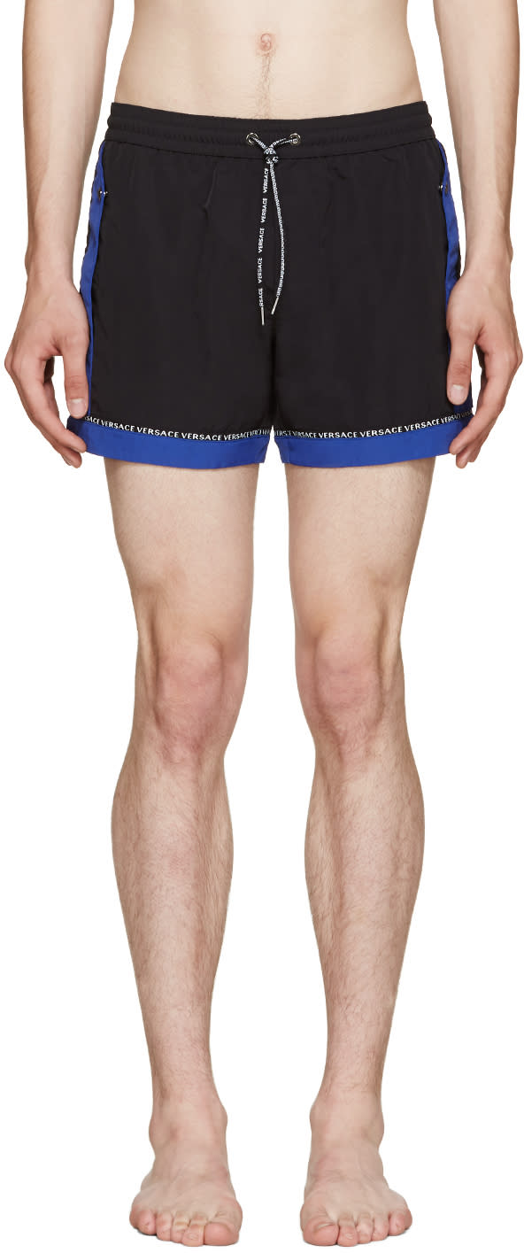 Versace Underwear Black and Blue Swim Shorts