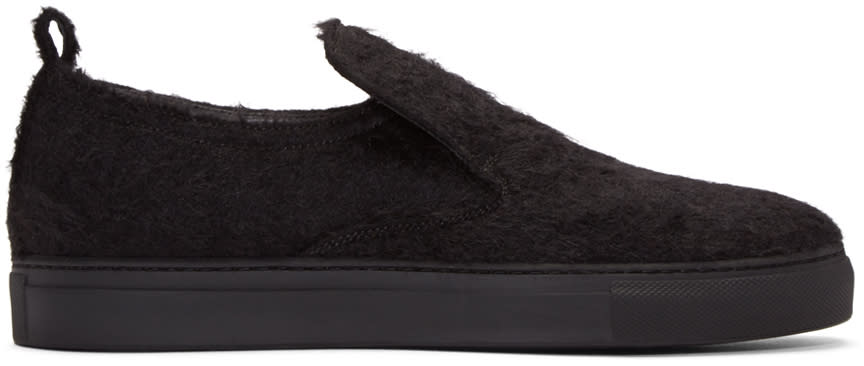 Ad Ann Demeulemeester Black Mohair Harrison Slip-on Sneakers