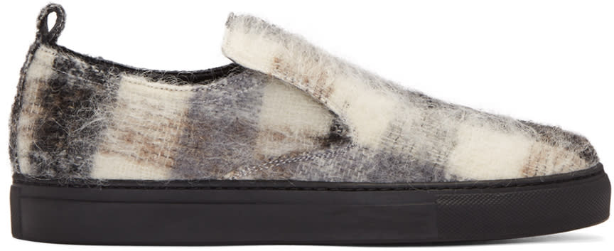 Ad Ann Demeulemeester Black Mohair Check Slip-on Sneakers