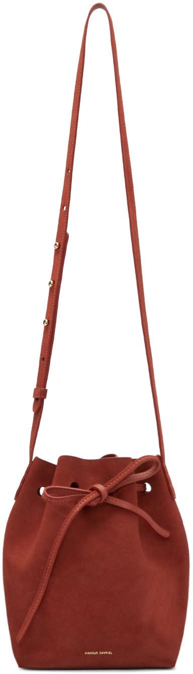 Mansur Gavriel Red Suede Mini Bucket Bag