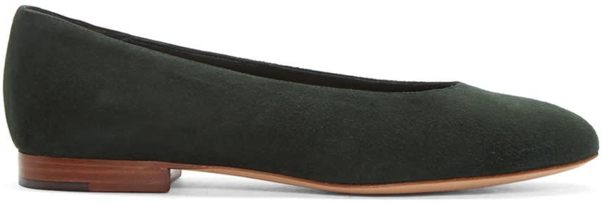 Mansur Gavriel Green Suede Ballerina Flats