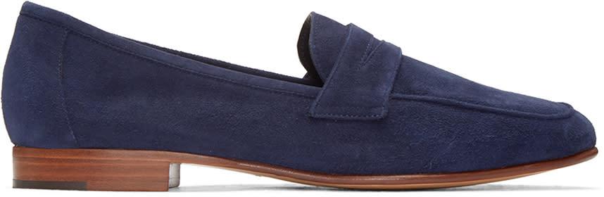 Mansur Gavriel Navy Suede Classic Loafers