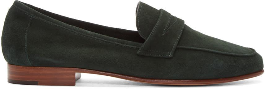 Mansur Gavriel Green Suede Classic Loafers