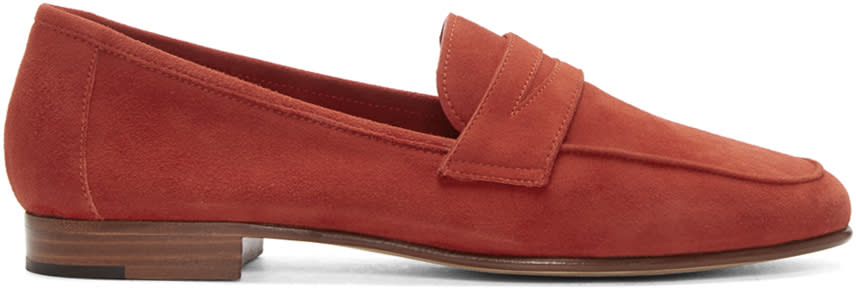 Mansur Gavriel Red Suede Classic Loafers