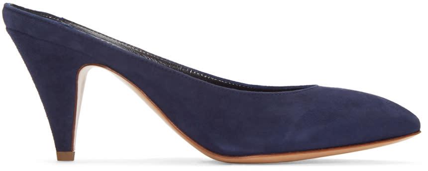 Mansur Gavriel Navy Suede Classic Slipper Heels