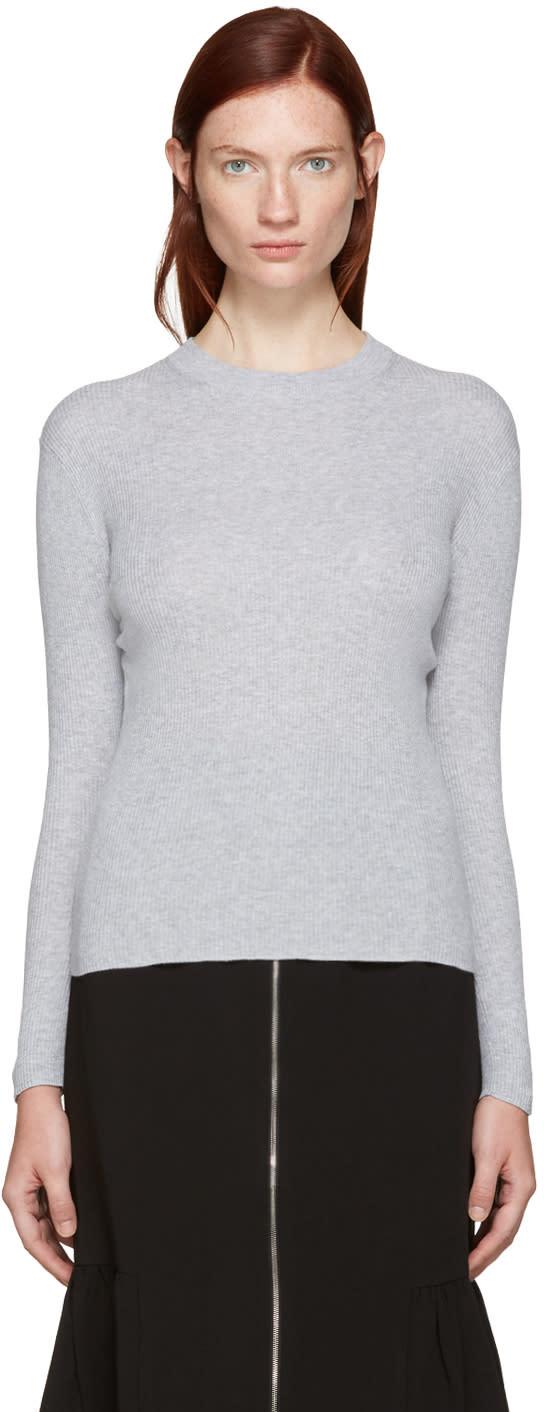 Edit Grey Ribbed Mock Neck Sweater