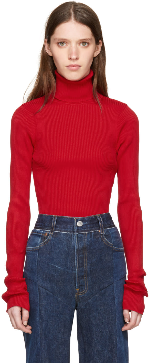 Vetements Ssense Exclusive Red Ribbed Turtleneck