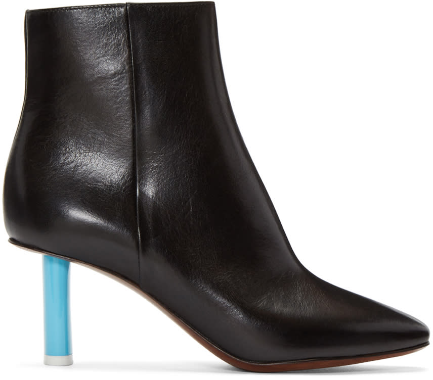 VetementsBlack Leather Ankle Boots