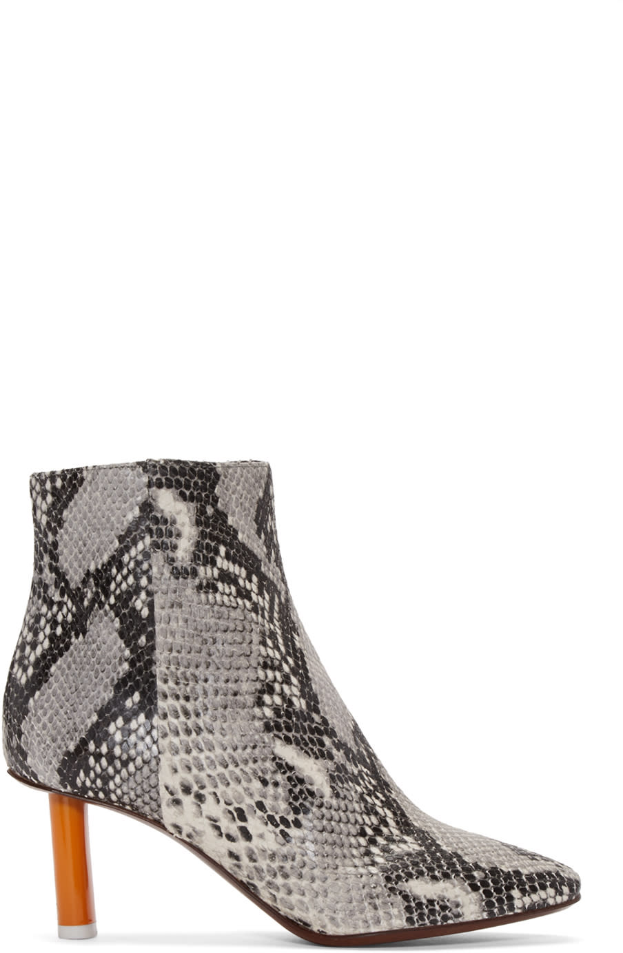 Vetements Grey Snakeskin-embossed Ankle Boots
