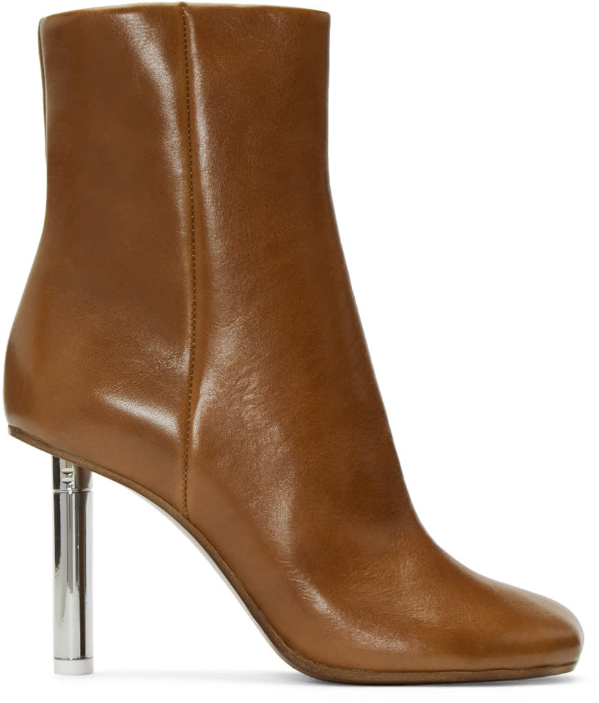 Vetements Brown Leather Ankle Boots