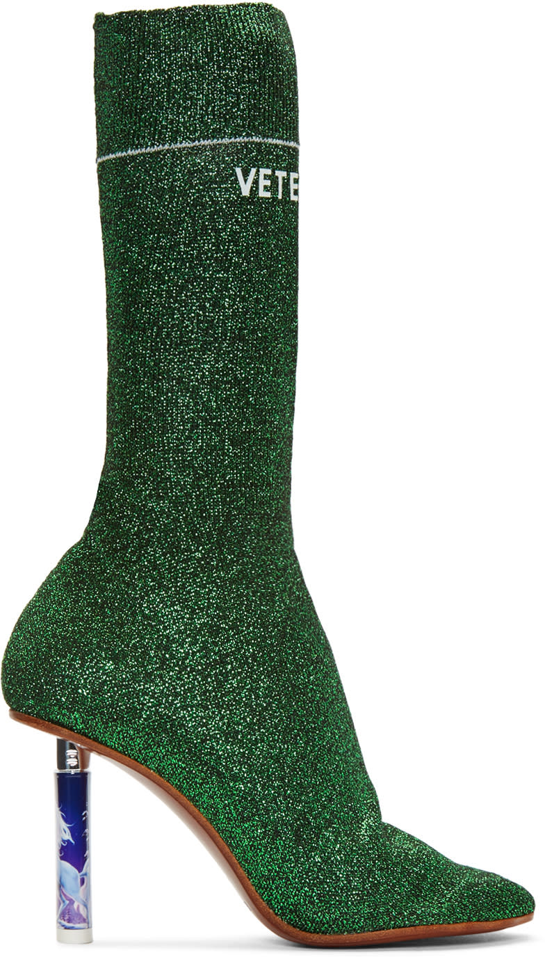 Vetements-Green-Metallic-Logo-Sock-Boots