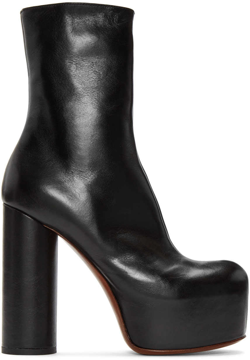 VetementsBlack Leather Platform Boots