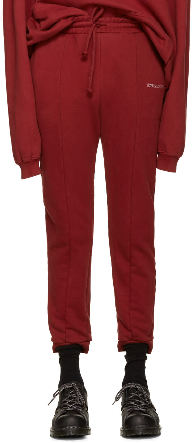 Vetements Burgundy Embroidered Logo Lounge Pants