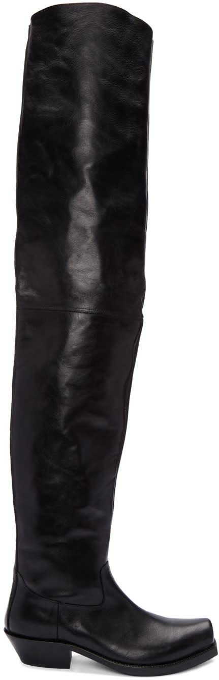 Vetements Black Leather Over-the-knee Boots