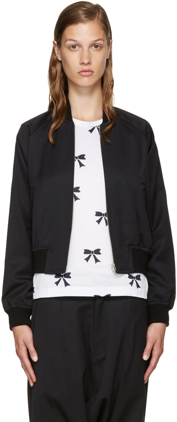 Comme Des Garcons Girl Black Wool Bomber Jacket