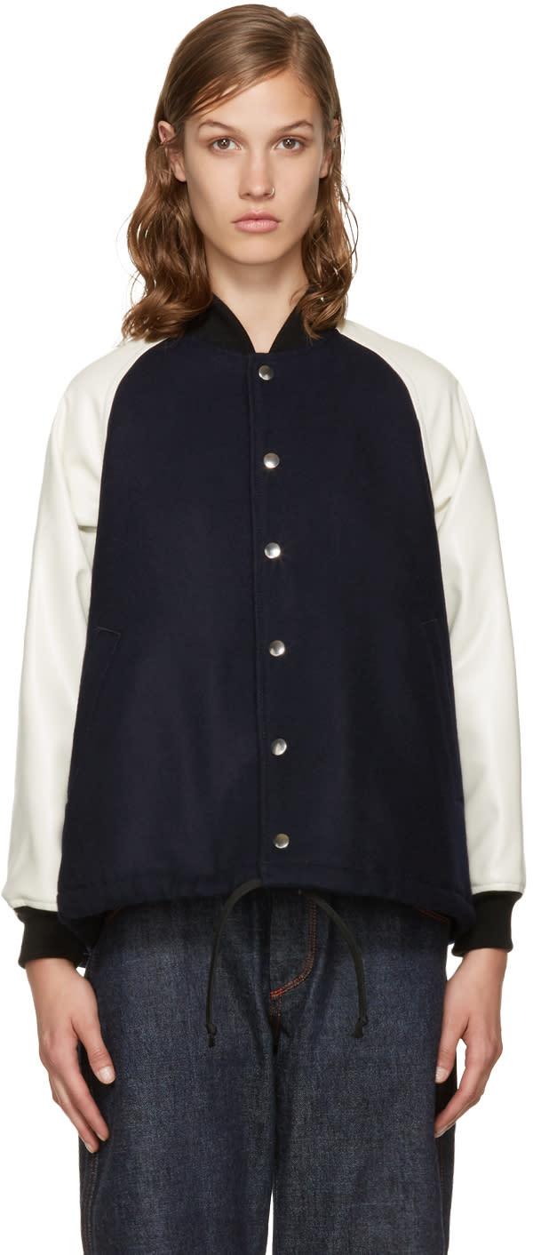 Comme Des Garcons Girl Navy Fishtail Bomber Jacket